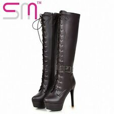 Knee High Women Boots Zipper Motorcycle Boots Super High Heels Buckle Strap Cros
