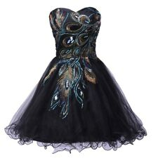 Sexy Tulle Ball Gown Distinctive Embroidery Peacock Pattern Black Party Gown Sho