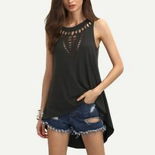 2016 Sexy Womens Hollow Neck Sleeveless Blouse Shirts Summer Casual Plus Size Lo
