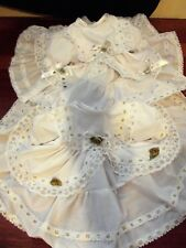 DREAM BABY WHITE WITH GOLD OR SILVER TRIM FRILLY DRESS 0 TO 18 MONTHS OR REBORN