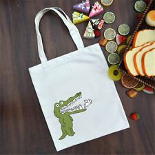 Cotton Canvas Fabric Shoulder Bag ECO Shopping Tote Print Crocodile Bird A06 S#