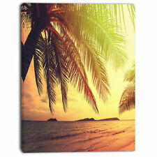 Design Art 'Tropical Beach with Green Palm' Photographic Print on Wrapped Canvas