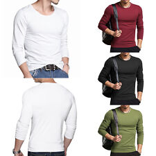 New Fashion Men Long Sleeve Casual T-Shirt Slim Fit Cotton Crew Neck Top