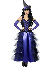 Ladies Black Purple Glamorous Witch Halloween Outfit Fancy Dress Costume