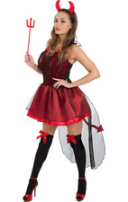 Adult Ladies Sexy Red Devil Outfit Halloween Fancy Dress Costume