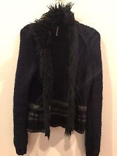 Free People Fuzzy Cadigian Open Front Navy. Medium Will Fit Large