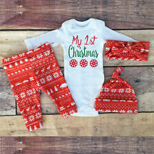 1Set Christmas Infant Baby Boy Girl Outfits Clothes Hat Leggings Cotton Suit