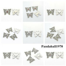 5PCS Antique Silver Plated Alloy Rhinestone Butterfly Pendants Charming Findings