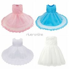 Princess Lace Tutu Gown Baby Girls Wedding Pageant Baptism Dresses Bows Party