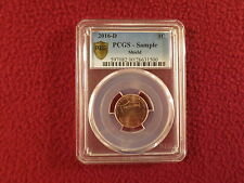 "PCGS - SAMPLE 2016 D LINCOLN "" SHIELD "" ONE CENT COIN ! ENCASED BY PCGS"