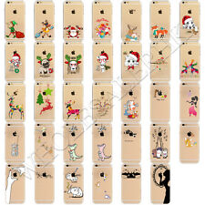 Clear Christmas Animal Patterned Soft TPU Back Case Cover For iPhone 7 6 6s Plus