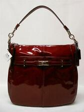 NWT COACH SIGNATURE CHELSEA PATENT LEATHER ASHLYN HOBO PURSE BAG 17861 WINE