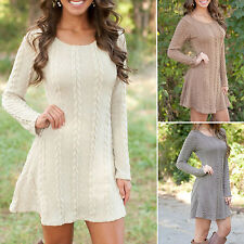 Lady Women Autumn Winter Long Sleeve Knitted Jumper Sweater Tops Pullover Dress