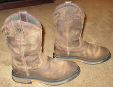 Mens ARIAT Workhog Pull On H2O Brown Leather Work Boots sz 9.5 D