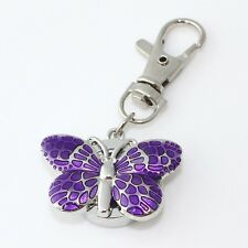 Casual Crystal Butterfly Pocket Quartz Metal Watch Party Gifts Key Rings GL36K
