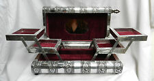 Large Embossed Indian Style Silver Metal Locking Jewellery Box - BNIB