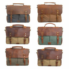 New Men Canvas Genuine Leather Messenger Crossbody Shoulder Bag Laptop Briefcase
