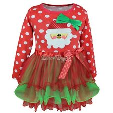 Kids Baby Girls Red Christmas Santa Tutu Dress Holiday Party Outfits T-shirt Top