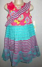 Ruffle lace tiered dress pink aqua girls 4 5 6 6X Counting Daisies NWT