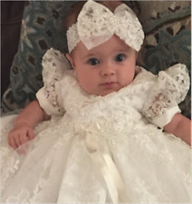 Vintage Baby Infant Christening Dress Girl Boy Baptism Gown White/Ivory Headband