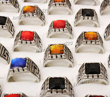 Wholesale Mixed Jewelry Lots 5pcs Men's Silver Plated Rhinestone Rings Free