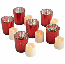 VonHaus Vintage 12 Pieces Glass Holder Tea Light Candle Set Set of 6