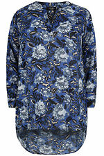 Yoursclothing Plus Size Womens Floral Print Blouse With Extreme Dipped Hem