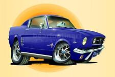 1966 Ford Mustang 2+2 Fastback Automotive Cartoon Car Caricature Art Print