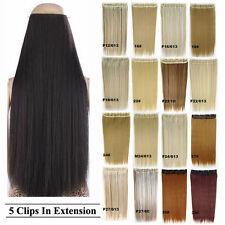38colors Long 3/4 Full Straight Clip In Hair Extension One Piece Only W/ 5clips