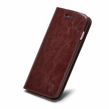 Genuine Real Leather Flip Wallet Card Slot Phone Case Cover For iPhone Samsung Y