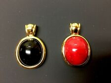 Joan Rivers 14KT Gold Plated Black Onyx or Carnelian Slide Pendant,    HSN399