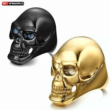Polished Skull Head Punk Rock Mens Ring Jewelry Stainless Steel Band Size 8-12