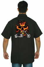 Men's Mechanic Work Biker Shirt Motorcycle Flame Skull Cross Chopper Skeleton