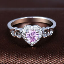 Sweet Heart Pink White Crystal Ring White Silver Wedding Jewellery Size6-9 Woman