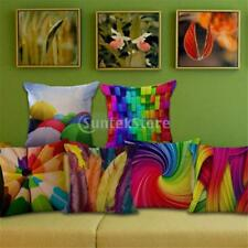 Square Colorful Cotton Linen Throw Pillow Case Rainbow Cushion Cover Decor