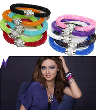Hot Wrap Wristband Cuff Punk Magnetic Rhinestone Buckle Crystal Bracelet Bangle