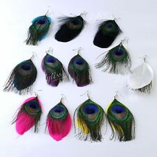 12pc Mix Color Handmade Goose & Peacock Feather Earrings Hook Dangle Chandelier