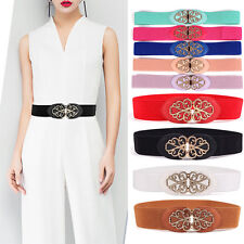 Women Retro Gold Floral Buckle Stretch Belt Thin Skinny Elastic Waist Band NY006