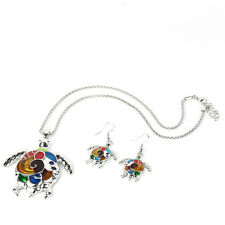 Gold/Silver Fashion Jewelry Set Charming Rainbow Turtle Pendant Necklace+Earring