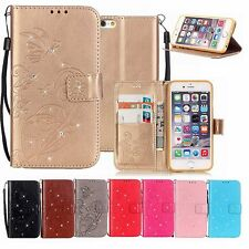 Bling Diamond Flip Leather Wallet Card Holder Stand Phone Case Cover For iPhone