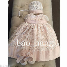 Baby Infant Baptism Gown Christening Dresses +Bonnet Outfit Lace First Communion