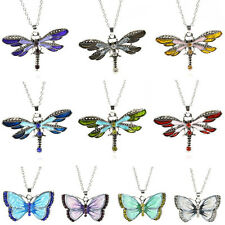 Hot Charms Enamel Pendant Dragonfly Butterfly Crystal Sweater Chain Necklace