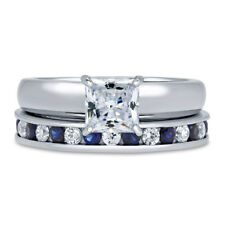 BERRICLE Sterling Silver Princess CZ Solitaire Engagement Ring Set 2.08 Carat