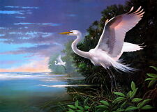 Art Canvas Print Egret on the Lake Oil painting Printed on canvas P522