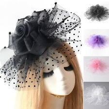 women large handmade fascinator hair clip accessory lace feathers veil wedding