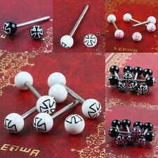 Cross Ball Beads Barbells Stainless Steel Pin Tongue Rings Body Piercing Jewelry