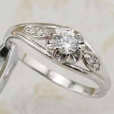 Size 7 8 9 Classy Nice White CZ Gems Jewelry Gold Filled Woman Prong Ring R2589