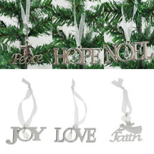 Xmas Tree Letter Hanger Party Hanging Christmas Ornament Decor Craft Lot-Silver