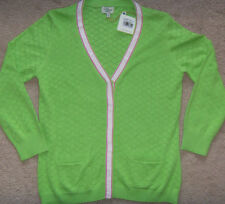 NEW Womens Clover by Bobby Jones Grossgrain Trim Pointelle Cardigan MSRP $195