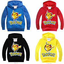 Pokemon Kids Pullover Boy Girls Pikachu Cotton Hoodies Sweatshirts Sweater Tops